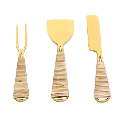 Rattan Wrapped Cheese Knives