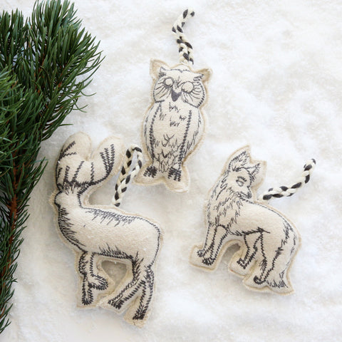 Woodland Embroidered Wool Ornaments