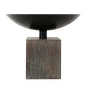 Iron & Wood Pedestal Bowl