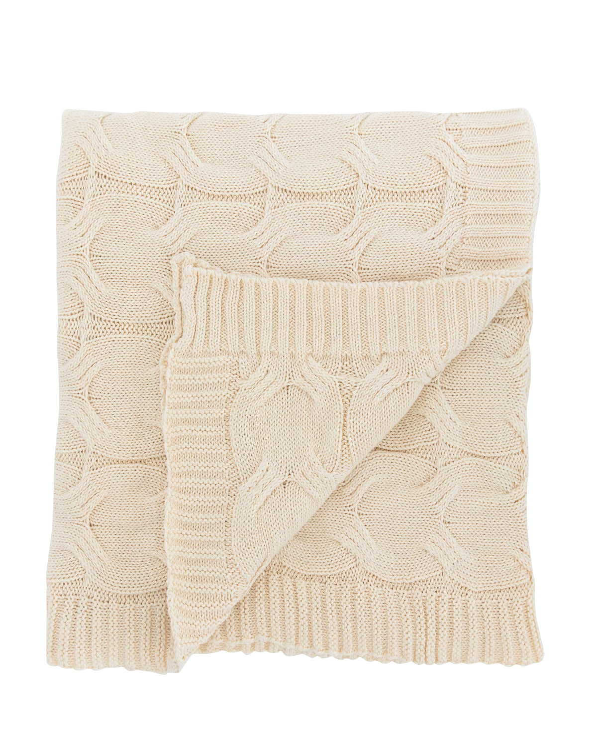 Ivory Cotton Knit Throw