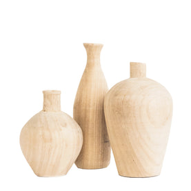 Wooden Vase Sculptures (Set of 3)