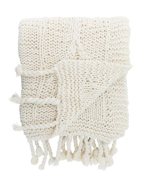Knitted Ivory Cotton Throw