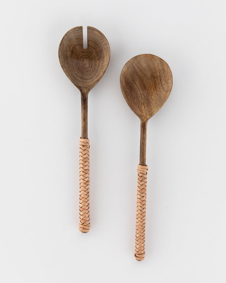 Leather Woven Handle Salad Servers