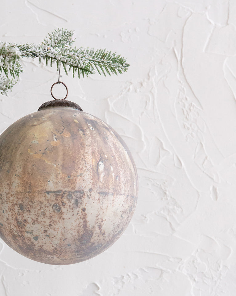 Marbled Cream & Copper Ornament