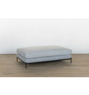 Morrison Metal Base Large Leather Ottoman