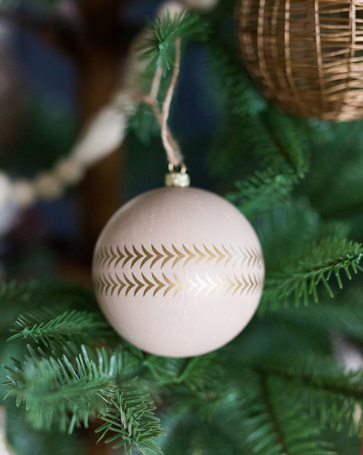 Natural & Gold Ball Ornament (Set of 2)