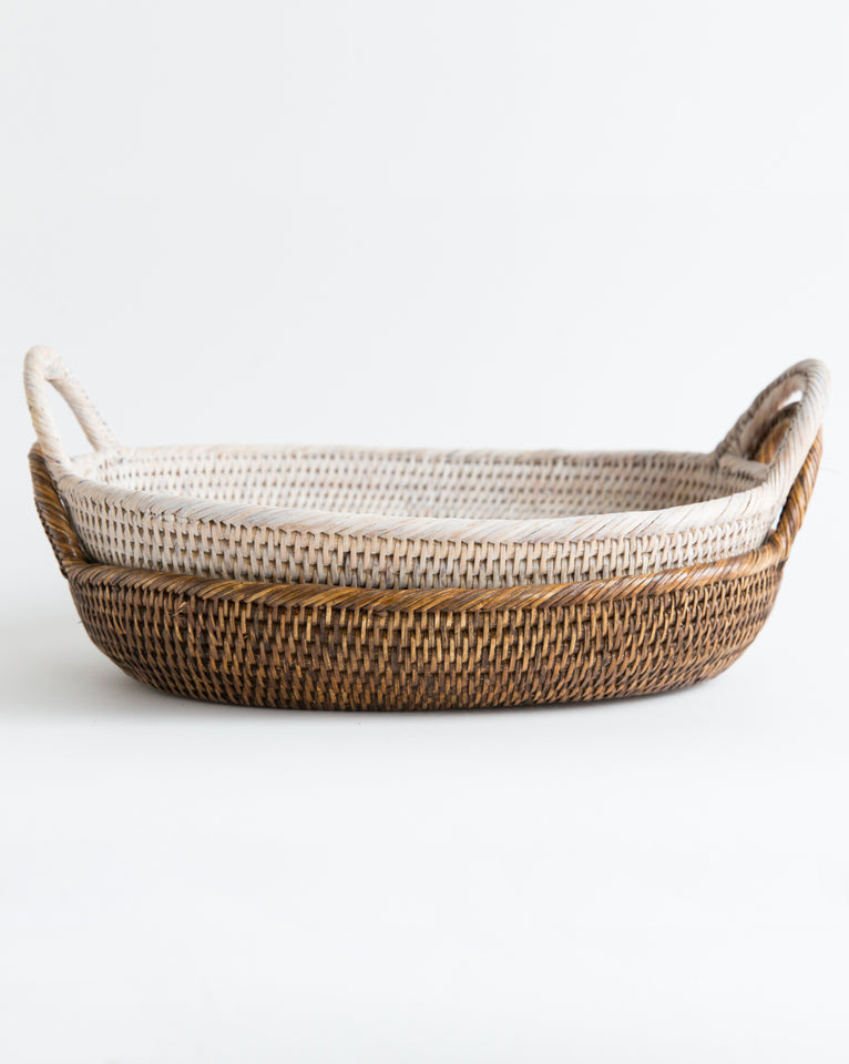 Oval Rattan Tray