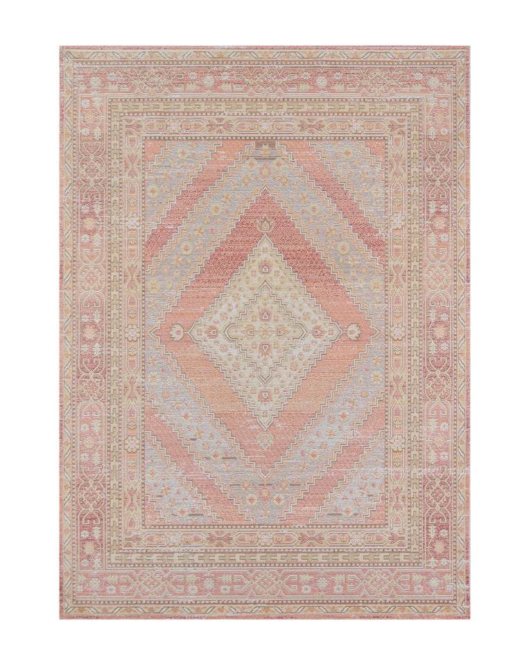 Perth area rug with pink