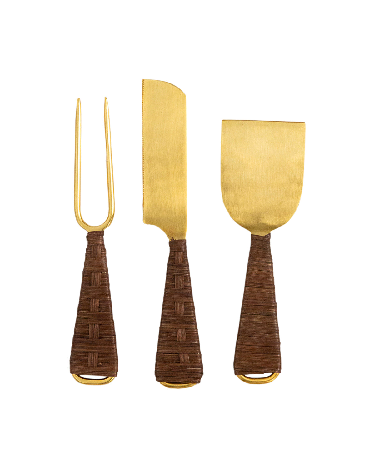 Rattan Handled Cheese Utensils (Set of 3)