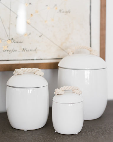 White Canister with Rope Handle