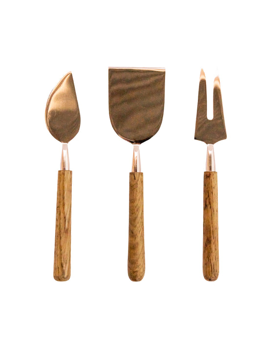 Rose Gold & Oak Cheese Knives Set