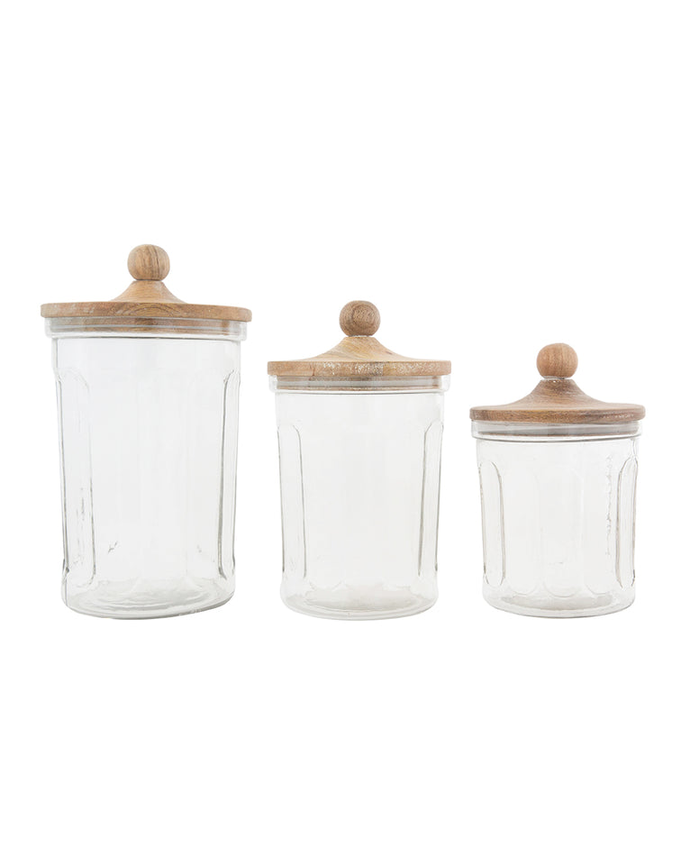 Seeded Glass Canisters (Set of 3)
