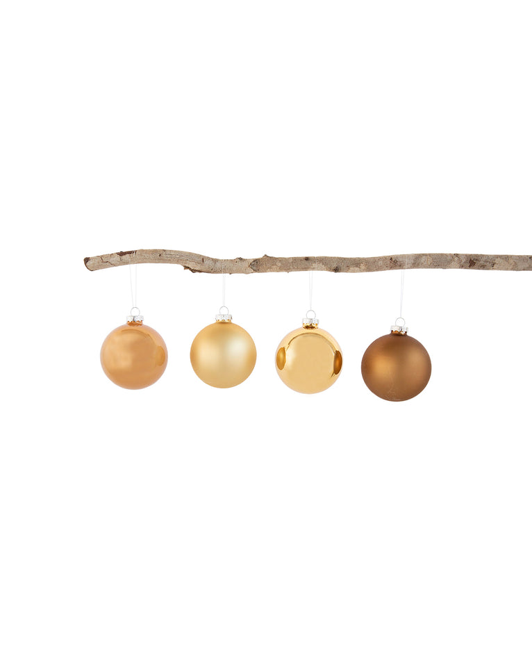 Shades of Gold Ball Ornaments (Set of 4)
