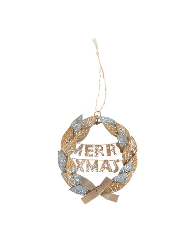 Silver & Gold Wreath Ornament
