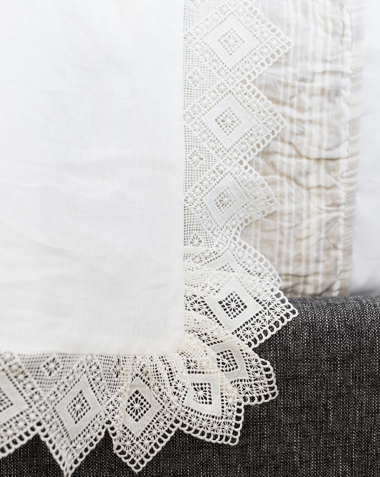 Oxford Lace Linen Duvet Cover
