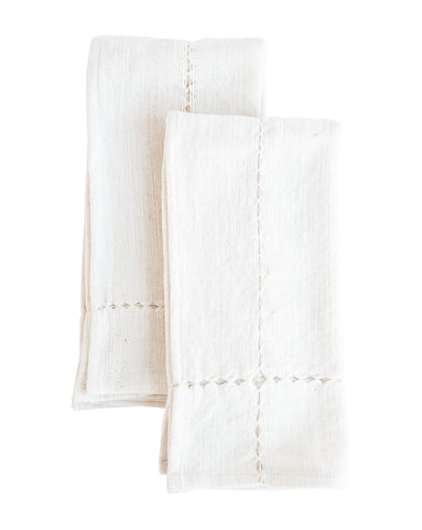 White Pulled Cotton Napkins (Set of 2)