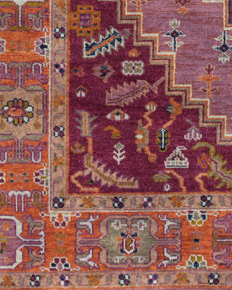 Venice Eggplant & Rust Hand-Knotted Rug
