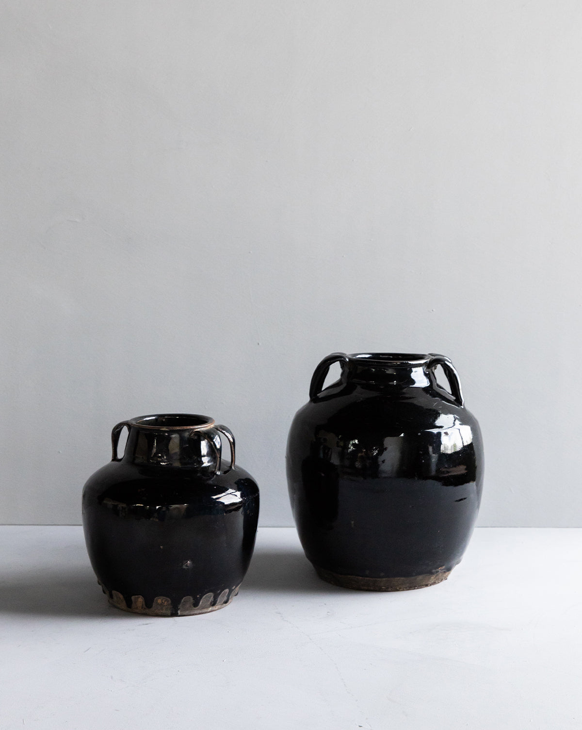Vintage Black Handled Jar