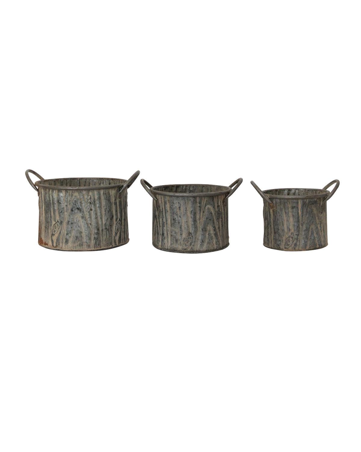 Wood Grain Metal Bucket