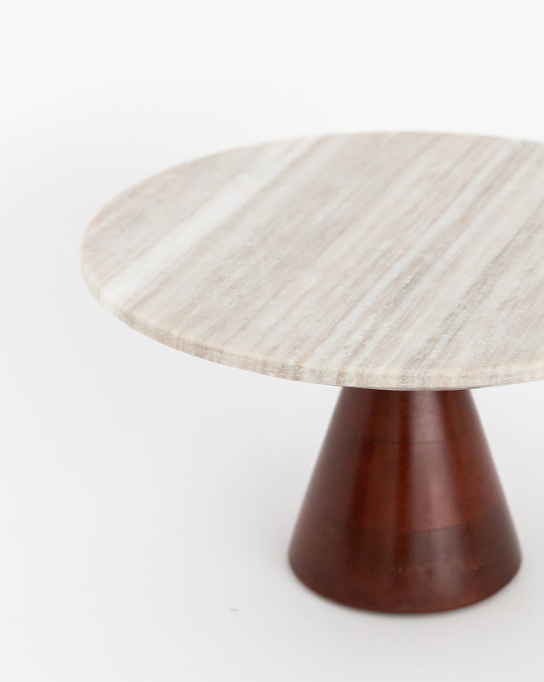 Wood & Marble Cake Stand