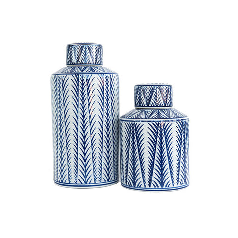 Blue and White Patterned Lidded Jars