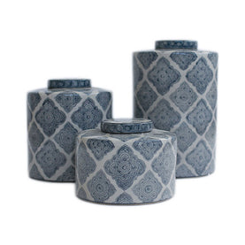 Blue Patterned Jars