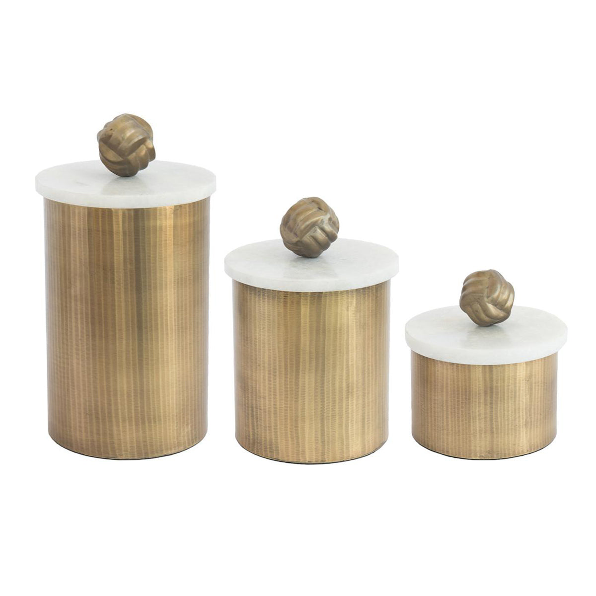 Brass Ribbed Canister