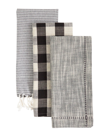 Coal Cotton Tea Towels (Set of 3)