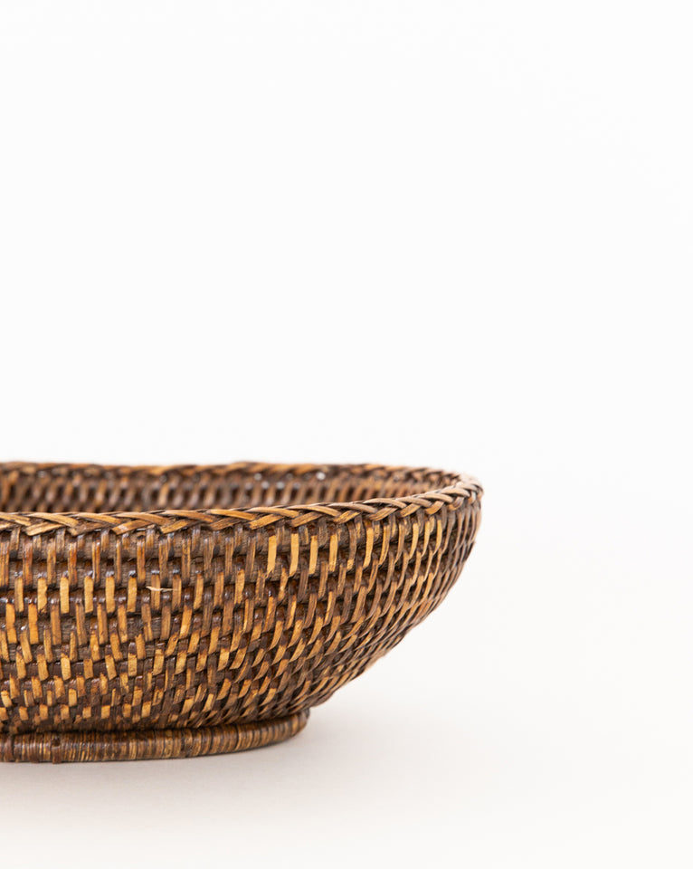 Dark Rattan Oval Bowl