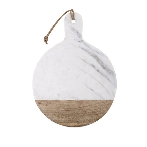Marble and Wood Round Cheese Board