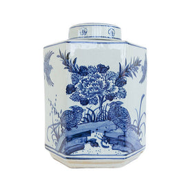 Hexagonal Blue Bird Jar