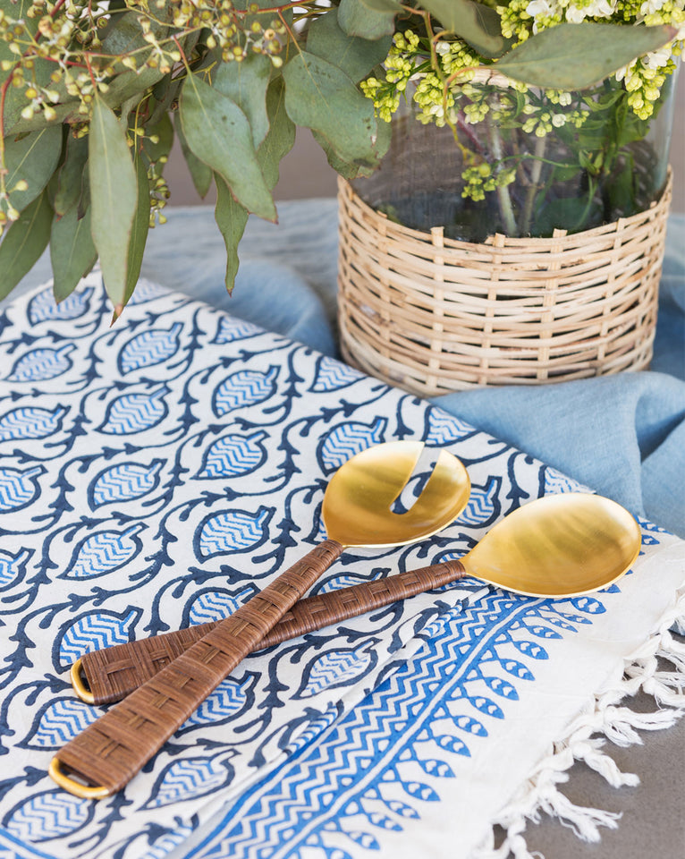 Blue & White Patterned Tablecloth