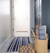 Tattersal Indigo Indoor / Outdoor Rug Swatch