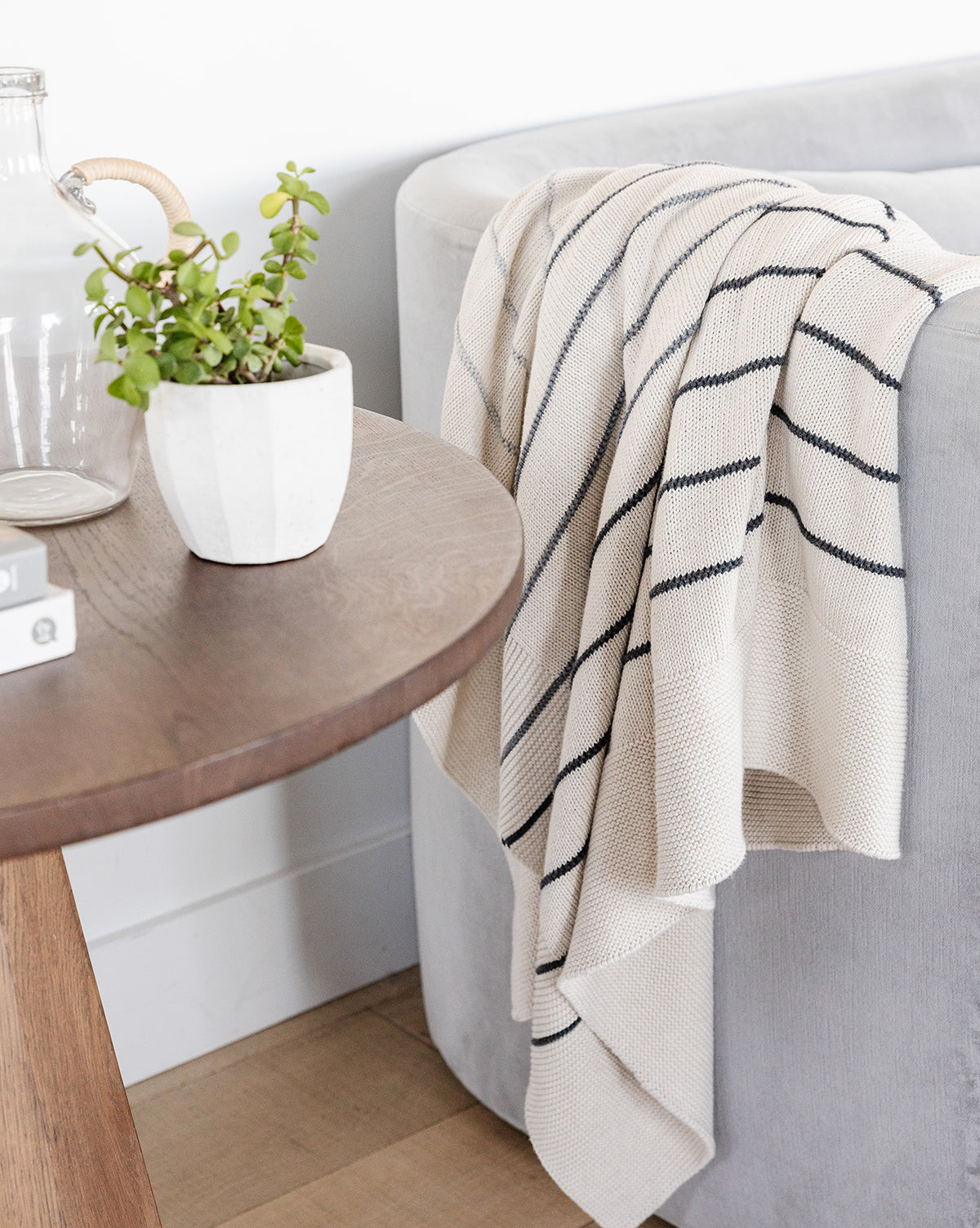 Charcoal Stripe Cotton Throw