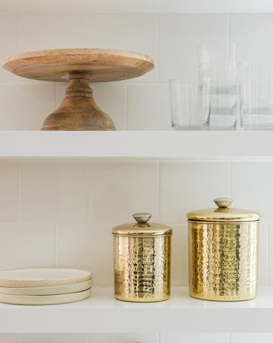 Hammered Gold Canisters