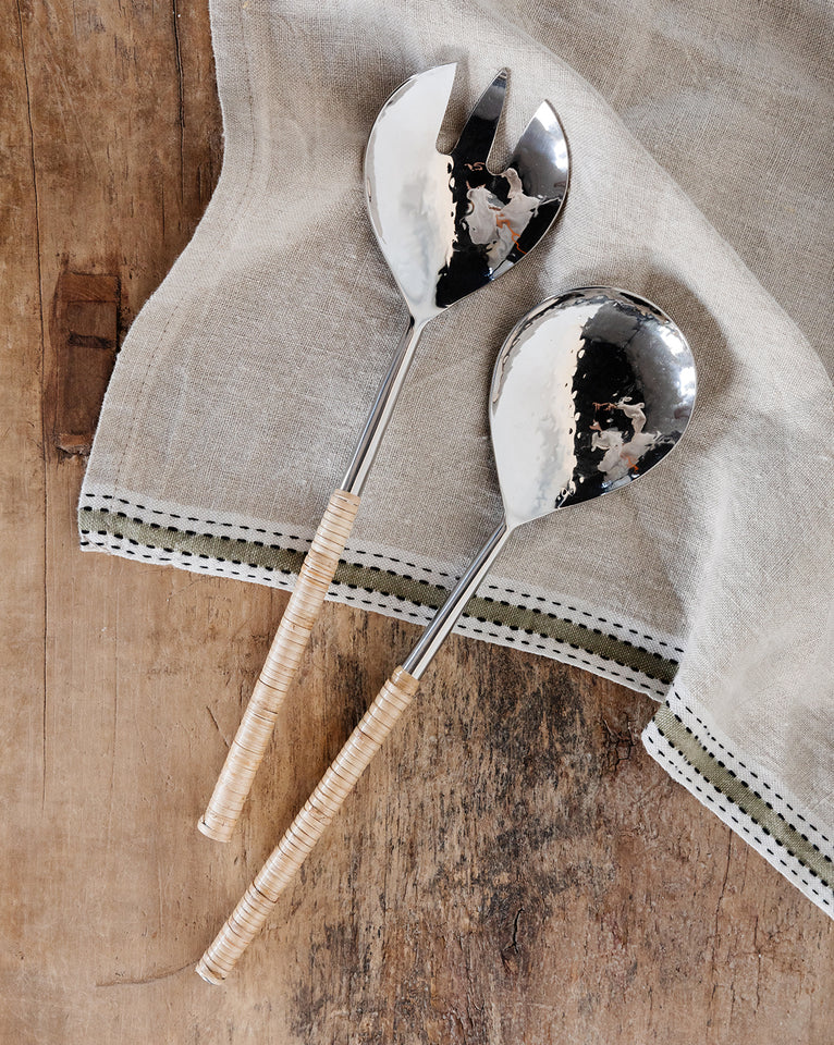 Hammered Metal & Rattan Serving Set