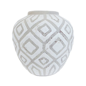 Taupe and White Round Vase