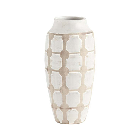 Taupe and White Vase