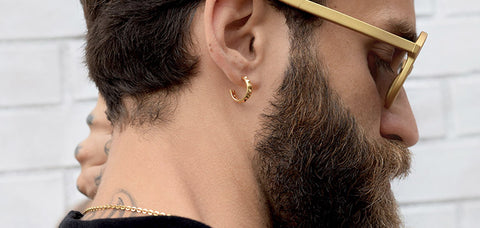 hoop earrings for stylish guys 24K gold-plated made in Italy