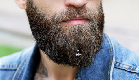 Thor's Hammer beard jewelry is designed for a modern Viking