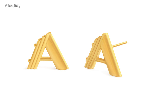Custom design earrings 18K gold jewelry. Letter A made to order Krato MIlano