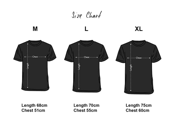 men's t-shirt size guide, size chart