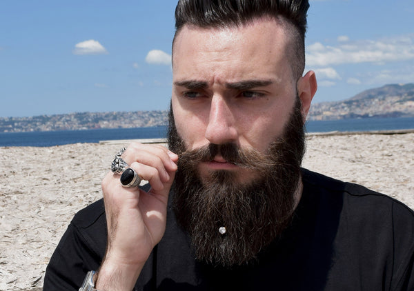Krato Milano beard crystal jewellery for stylish bearded guy