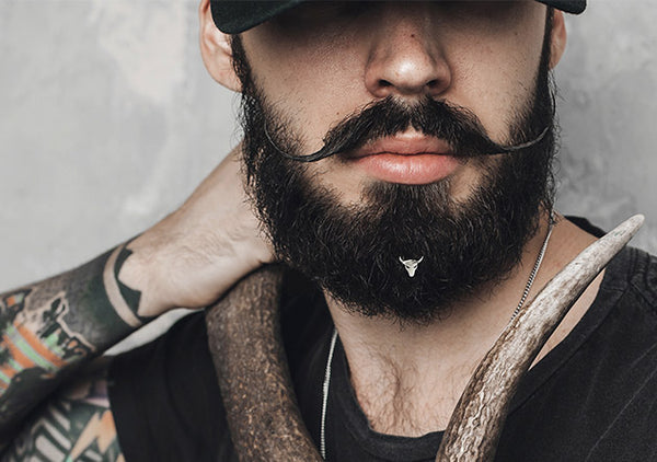 Krato bull beard piercing is an exclusive Italian design hair accessory for men