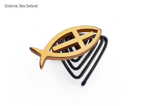 custom design gold jewellery cross fish for the beard styling