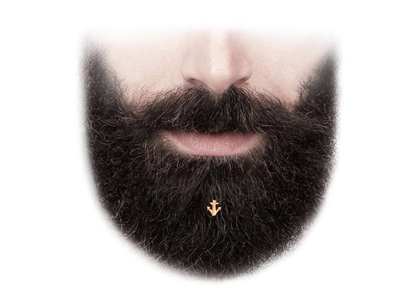gold anchor beard bling hair decoration made in Italy Krato Milano gift for him