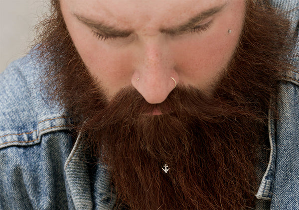 silver anchor jewellery is the best gift for a bearded man by Krato Milano
