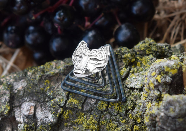wolf head scandinavian design of viking times polished silver jewelry for bearded men Krato Milano