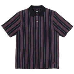 Pulls et Sweats-Stussy - Revival Stripe Polo Black