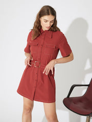 Robes-Ghospell - Motor Mouth Utility Dress - Robe workwear-
